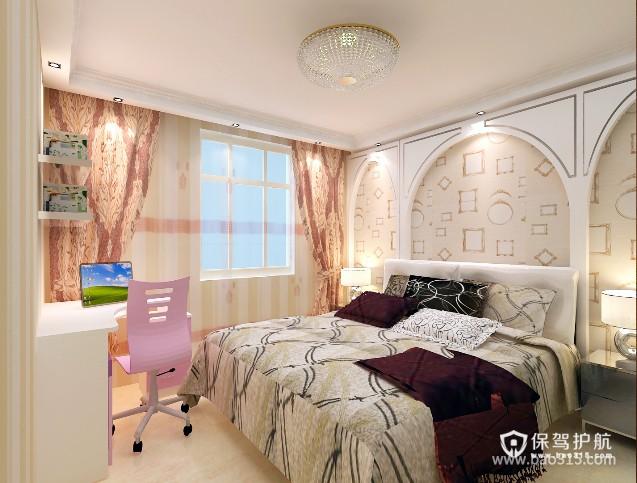 90㎡小户型简欧风格卧室背景墙装修效果图-简欧风格电脑椅图片