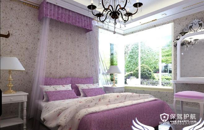 100㎡二居室田园风格卧室背景墙装修效果图-田园风格床头灯图片