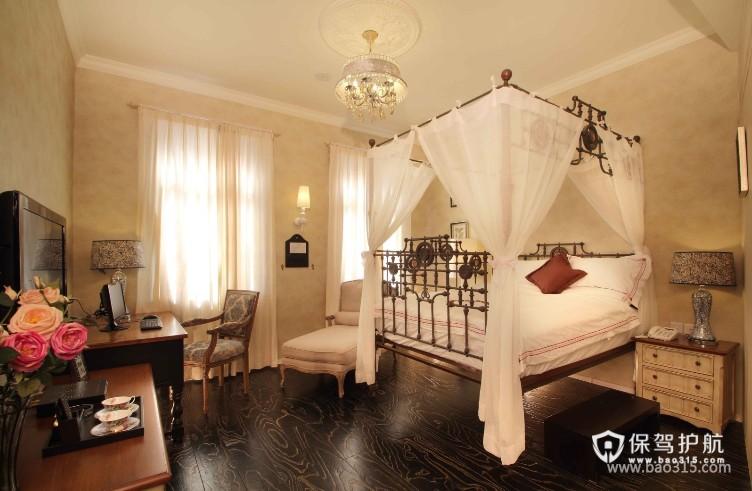 100㎡二居室乡村风格卧室背景墙装修效果图-乡村风格床头灯图片