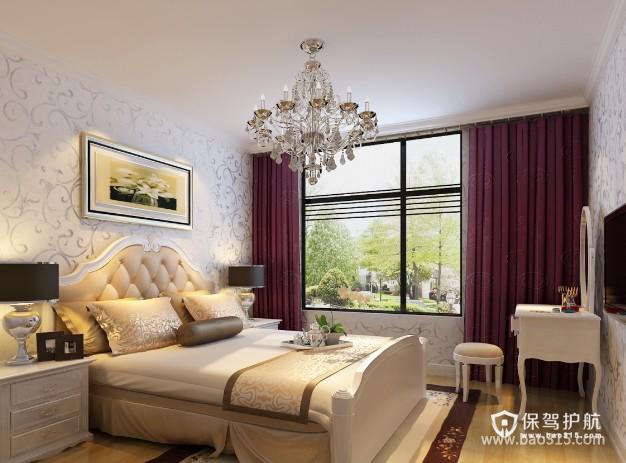 100㎡二居室简欧风格卧室背景墙装修效果图-简欧风格梳妆台图片