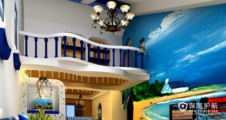 100㎡二居室地中海风格客厅背景墙装修效果图