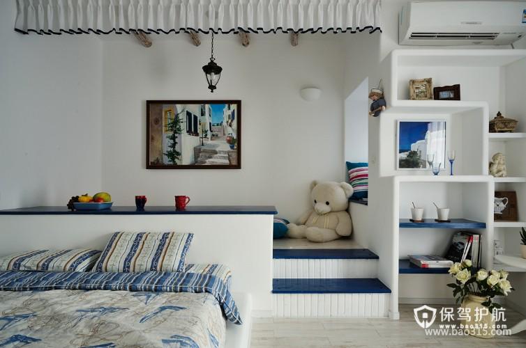 100㎡二居室地中海风格卧室背景墙装修效果图-地中海风格壁柜图片
