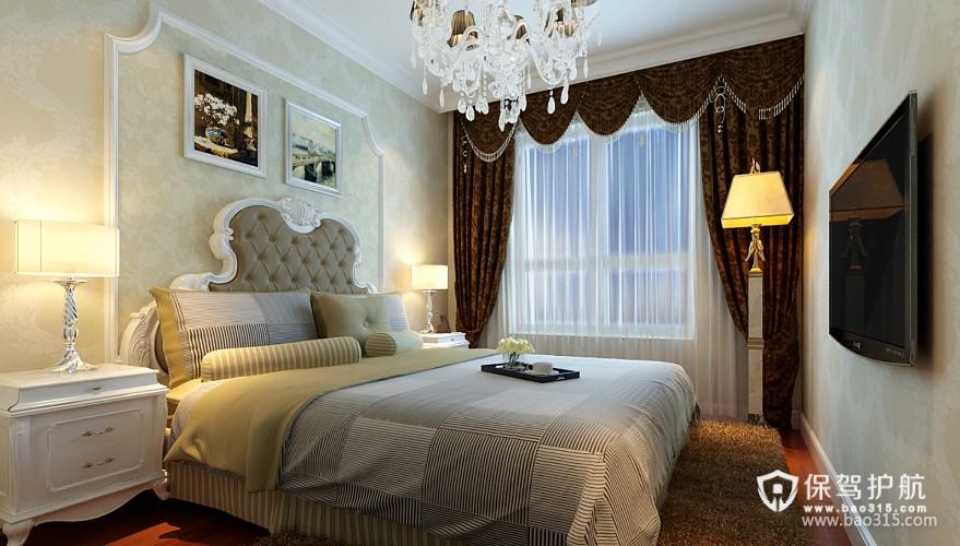 100㎡二居室简欧风格卧室背景墙装修效果图-简欧风格床头灯图片