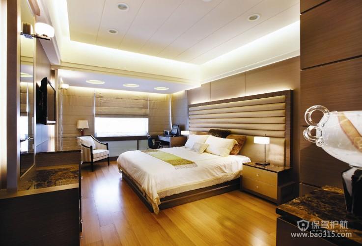 100㎡二居室现代风格卧室背景墙装修效果图-现代风格床头灯图片