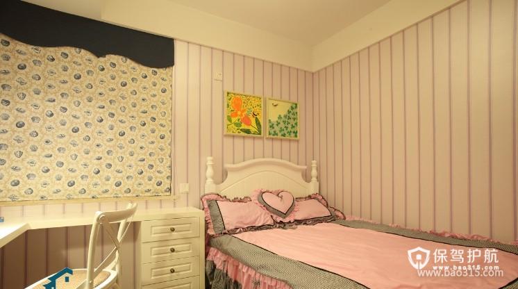 100㎡二居室田园风格卧室背景墙装修效果图-田园风格书桌图片