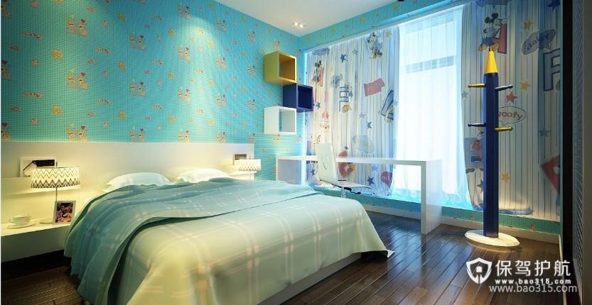 100㎡二居室现代风格儿童房背景墙装修效果图-现代风格书桌图片