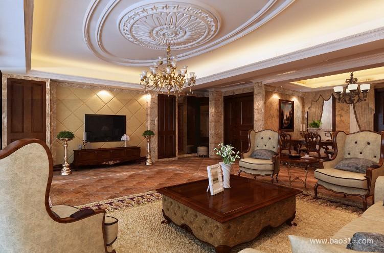 120㎡三居室欧式风格客厅吊顶装修效果图-欧式风格茶几图片