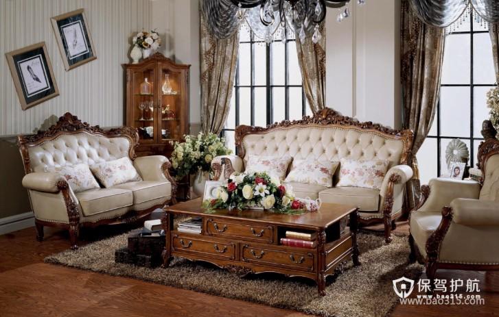 120㎡三居室欧式风格客厅背景墙装修效果图-欧式风格茶几图片