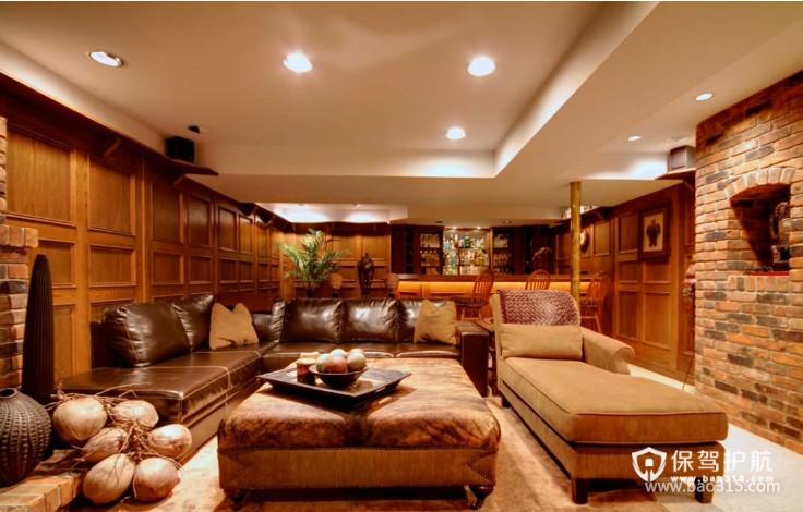 独栋别墅美式风格客厅吊顶装修效果图-美式风格贵妃沙发图片