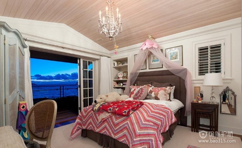 100㎡二居室欧式风格卧室吊顶装修效果图-欧式风格床头柜图片