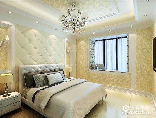 100㎡二居室简欧风格卧室吊顶装修效果图-简欧风格床尾凳图片
