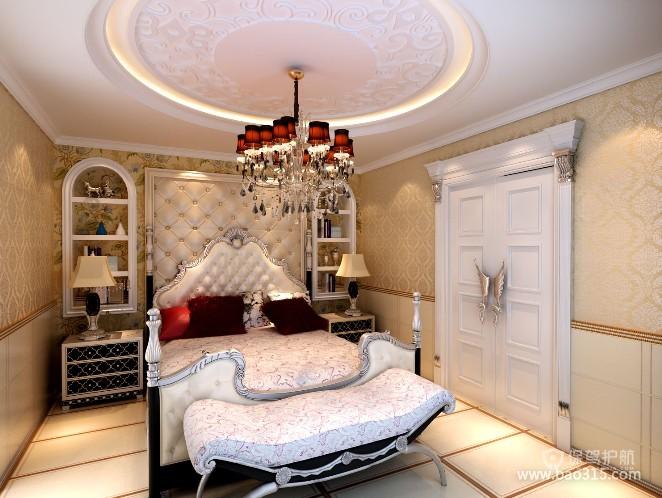 100㎡二居室欧式风格卧室吊顶装修效果图-欧式风格床尾凳图片