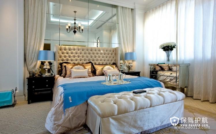 100㎡两居室欧式风格婚房卧室装修效果图-欧式风格床尾凳图片