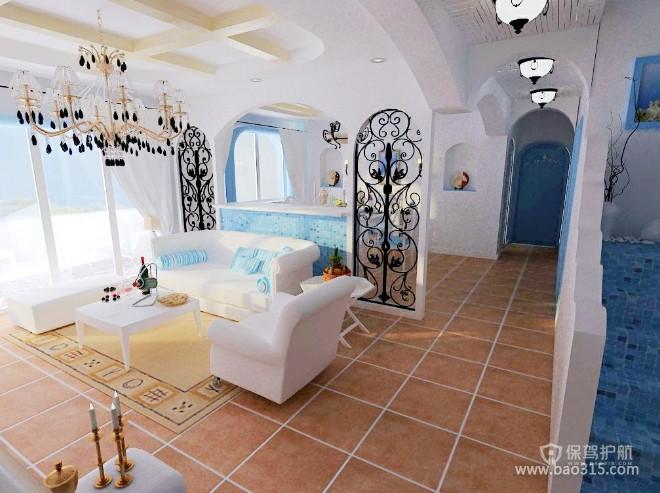 100㎡两居室地中海风格婚房客厅吊顶装修效果图-地中海风格沙发图片