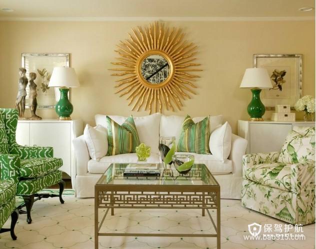 100㎡两居室田园风格婚房客厅装修效果图-田园风格茶几图片