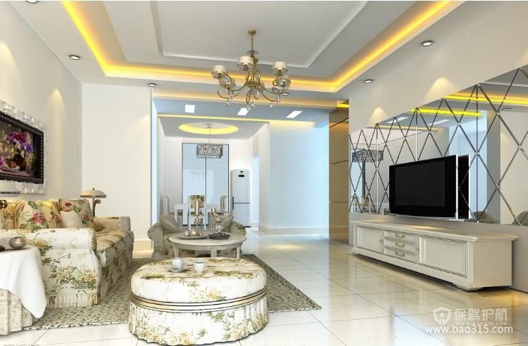 100㎡两居室简欧风格婚房客厅电视背景墙装修效果图-简欧风格圆凳图片