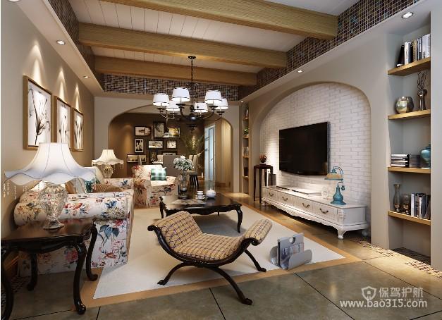 100㎡两居室乡村风格婚房客厅吊顶装修效果图-乡村风格贵妃椅图片