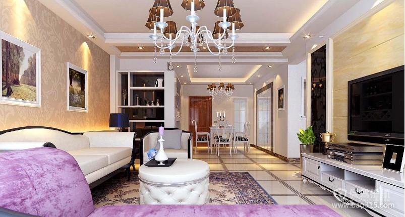 100㎡两居室简欧风格客厅沙发背景墙装修效果图-简欧风格圆凳图片