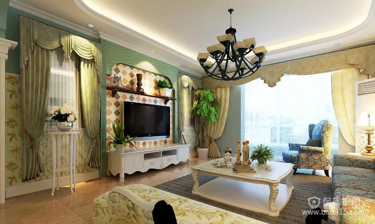 100㎡两居室田园风格婚房客厅电视背景墙装修效果图-田园风格花架图片