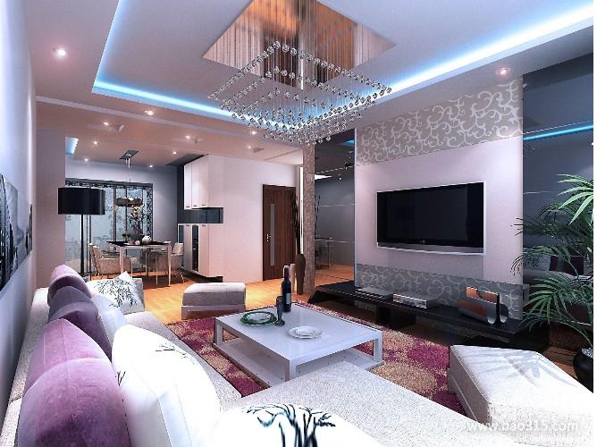 100㎡二居室现代风格客厅电视背景墙装修效果图-现代风格茶几图片