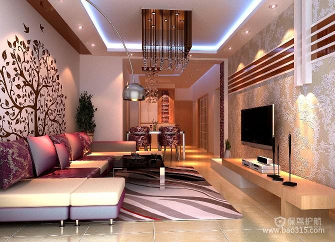 100㎡两居室现代风格客厅电视背景墙装修效果图-现代风格转角沙发图片