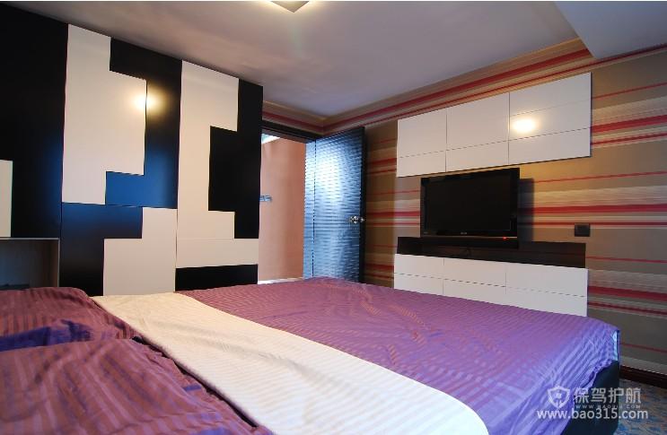 100㎡二居室现代风格婚房卧室装修图片