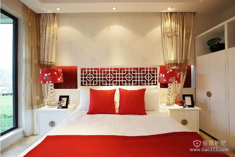 100㎡两居室现代卧室背景墙装修效果图-现代风格床头柜图片
