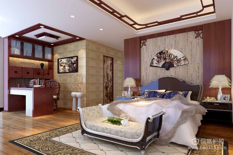 100㎡二居室新中式风格卧室背景墙装修效果图-新中式风格床尾凳图片