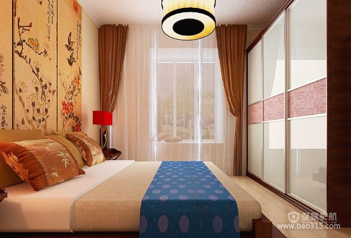100㎡两居室简约中式风格卧室背景墙装修效果图-简约中式风格整体衣柜图片