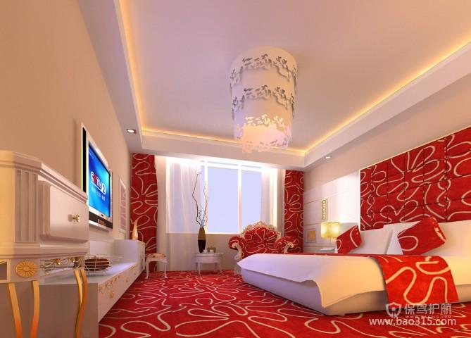 100㎡二居室现代风格婚房卧室装修效果图-现代风格吸顶灯图片