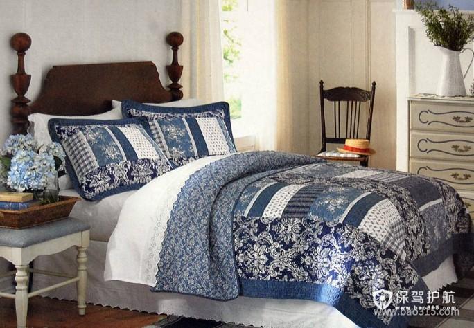 120㎡大户型欧式风格婚房卧室装修效果图-美式乡村风格床头凳图片