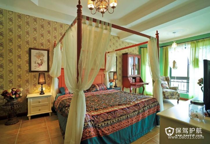 120㎡大户型美式乡村风格婚房卧室装修效果图-美式乡村风格双人床图片