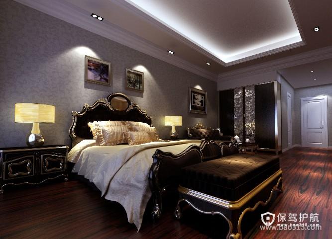 120㎡大户型欧式古典风格卧室吊顶装修效果图-欧式古典风格床尾凳图片