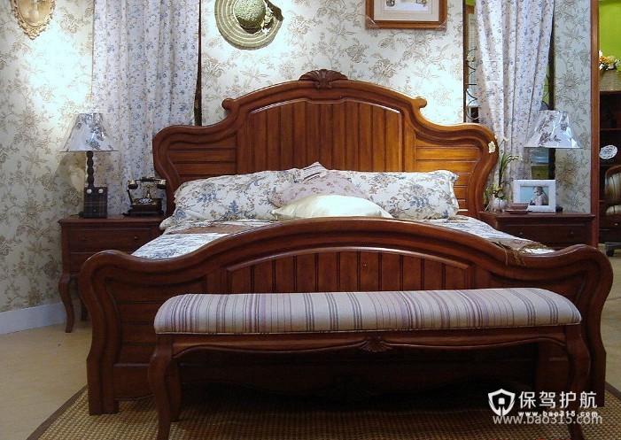 120㎡大户型美式乡村风格婚房卧室装修效果图-美式乡村风格床尾凳图片