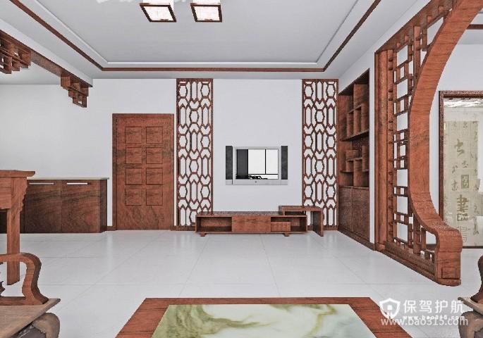 120㎡大户型中式风格婚房客厅电视背景墙装修效果图