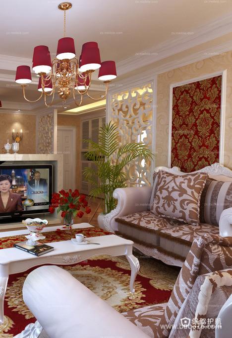 拥有红玫瑰韵味的法式客厅