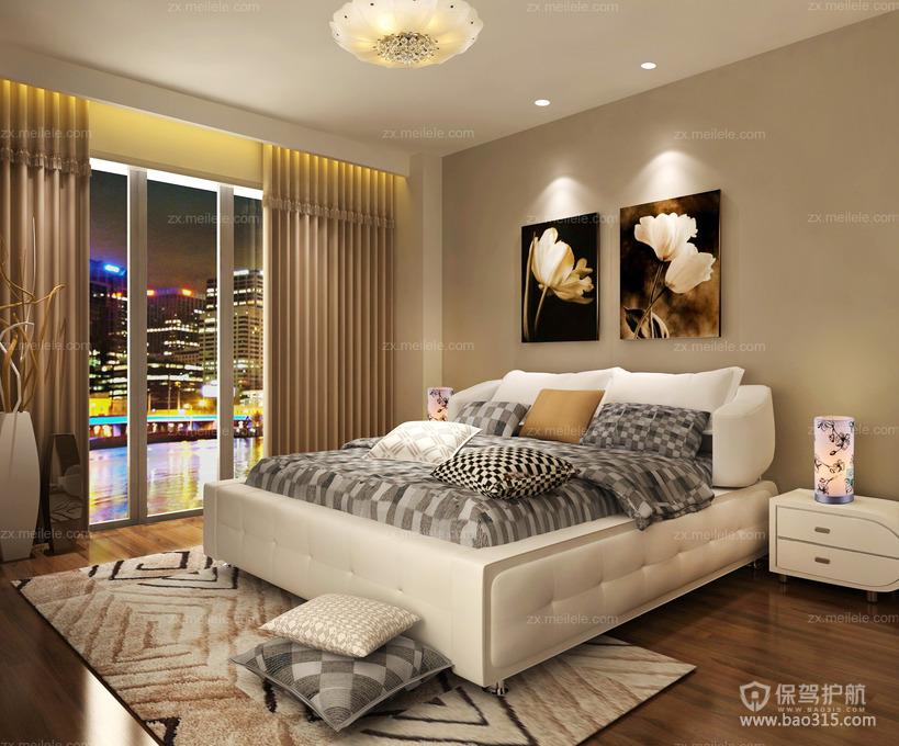 现代风二居室卧室落地窗装修效果图