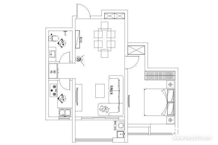 一居室平面图