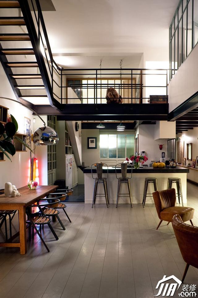 美式现代阁楼复式公寓厨房吧台装修效…