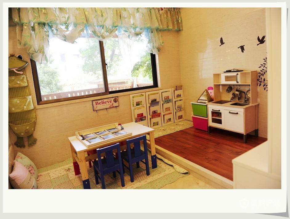 乡村风格三室一厅20平米客厅田园风格窗帘软装效果图