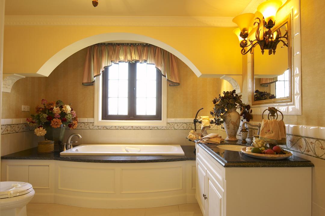 田园风豪华别墅 别墅装修,豪华型装修,田园风格,卫浴间,浴缸,浴室柜