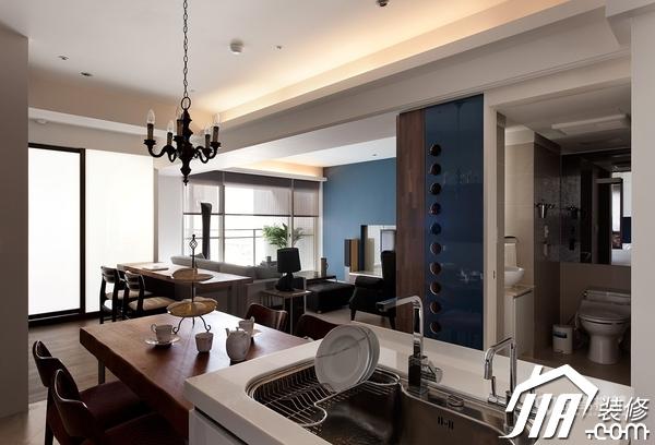 大气简约风 纯洁可人小户型 小户型装修,一居室装修,富裕型装修,简约风格,冷色调装修,时尚,厨房,餐厅,灯具,餐桌