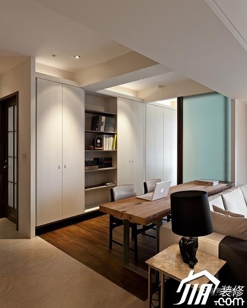 大气简约风 纯洁可人小户型 小户型装修,一居室装修,富裕型装修,简约风格,冷色调装修,时尚,书架,书桌,工作区