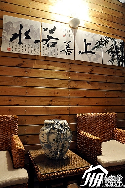 混搭风格三室一厅20平米客厅藤椅搭配效果图