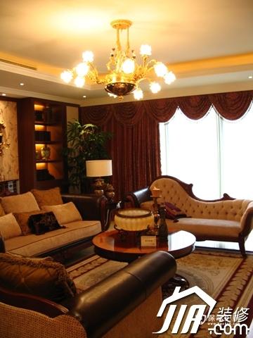 绽放优雅魅力 温馨低调奢华大宅 四房以上装修,豪华型装修,简约风格,客厅,暖色调,沙发,茶几,窗帘,灯具