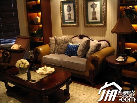 绽放优雅魅力 温馨低调奢华大宅 四房以上装修,豪华型装修,简约风格,客厅,暖色调,沙发,茶几,灯具,沙发背景墙