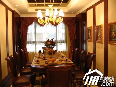 绽放优雅魅力 温馨低调奢华大宅 四房以上装修,豪华型装修,简约风格,餐厅,暖色调,灯具,餐桌,餐厅背景墙