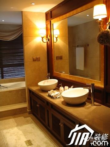 绽放优雅魅力 温馨低调奢华大宅 四房以上装修,豪华型装修,简约风格,卫生间,暖色调,洗手台,灯具