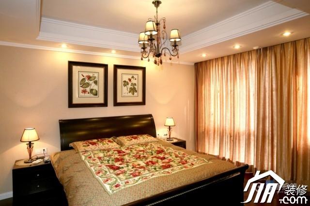 欧式混搭中式风复式楼卧室灯具装修效果图