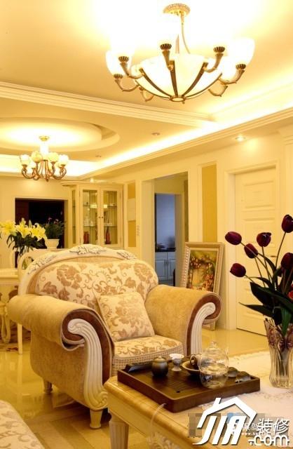 呼吸层次美感 时尚三居室简欧装 三居室装修,20万以上装修,简约风格,欧式风格,灯具,沙发,茶几,客厅
